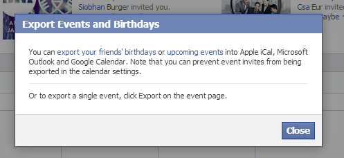 How do I get Facebook Birthdays or Facebook Upcoming events