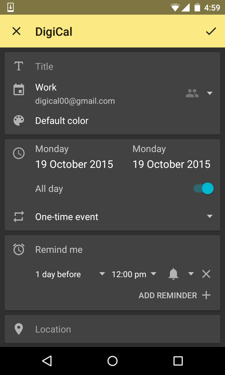 How do I categorize my events using different calendars and colors