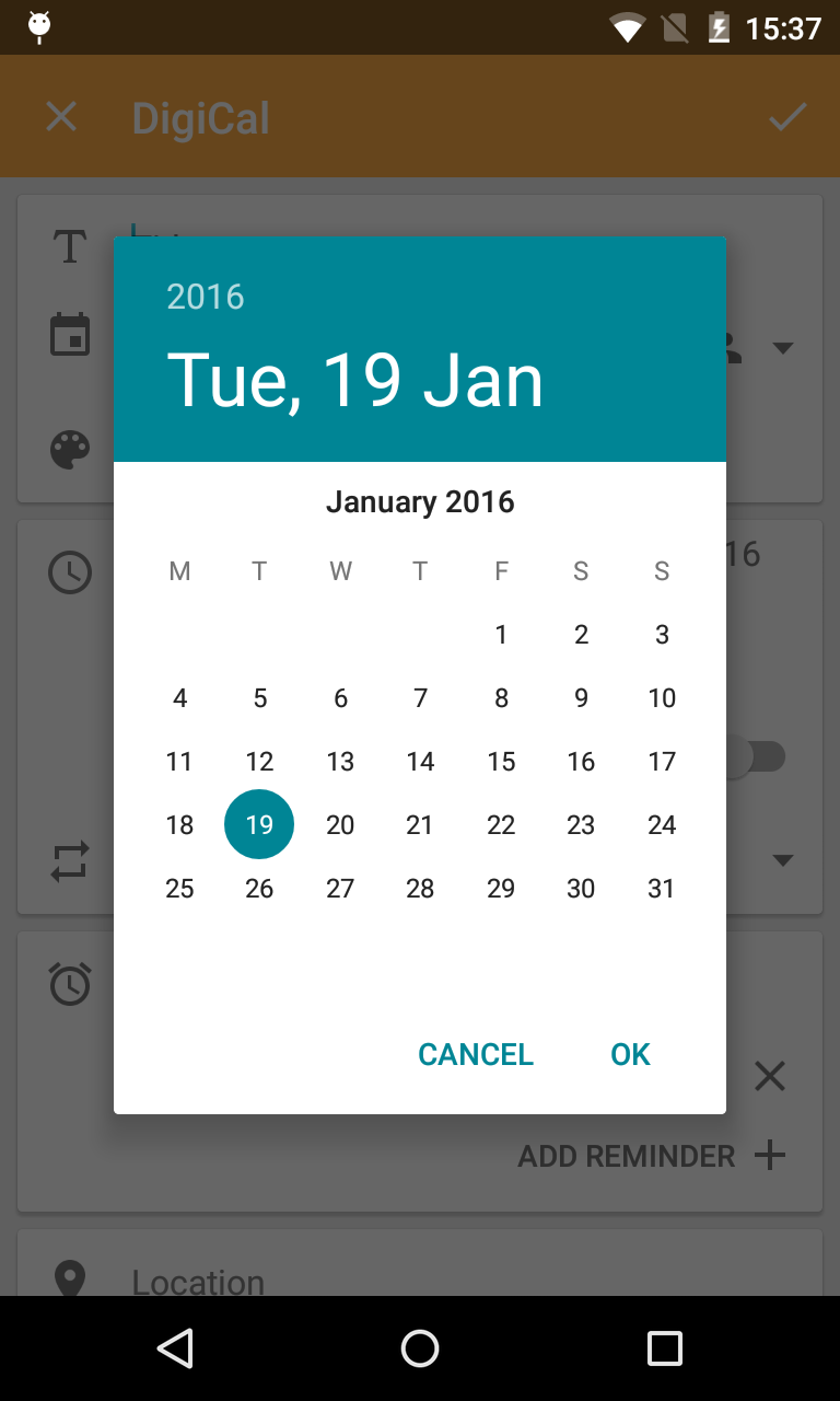 Android Image Picker how do i revert back to the (old) numerical date & time